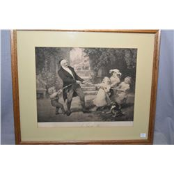 "Two antique reframed prints including ""A Tug of War"" and ""Queen Alexandra, her grandchildren and Dog"