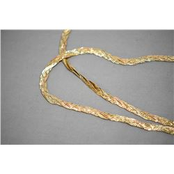 "Ladies 14kt yellow and rose gold double strand braided neck chain, 16"" and 17"" in length. Retail rep"