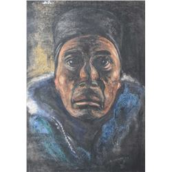 "Framed original pastel on paper portrait of a Inuit figure signed by artist B. Krause '74, 16"" X 11"""