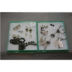 Two tray lots of vintage silver and collectible jewellery including Jade beaded necklace , sterling