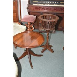 Regency style center pedestal side table and a fern stand