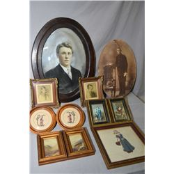 Selection of vintage framed prints and needleworks