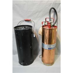 General pump operated copper fire extinguisher and a vintage metal water can with spigot