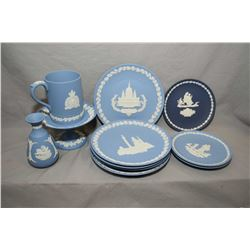 "Selection Wedgwood Jasperware including R.C.M.P tankard, five 8"" plates and three 6 1/2"" plates plus"