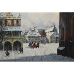 "Framed oil on canvas painting of a Russian winter scene signed by artist W. Wolsky, 24"" X 36"""