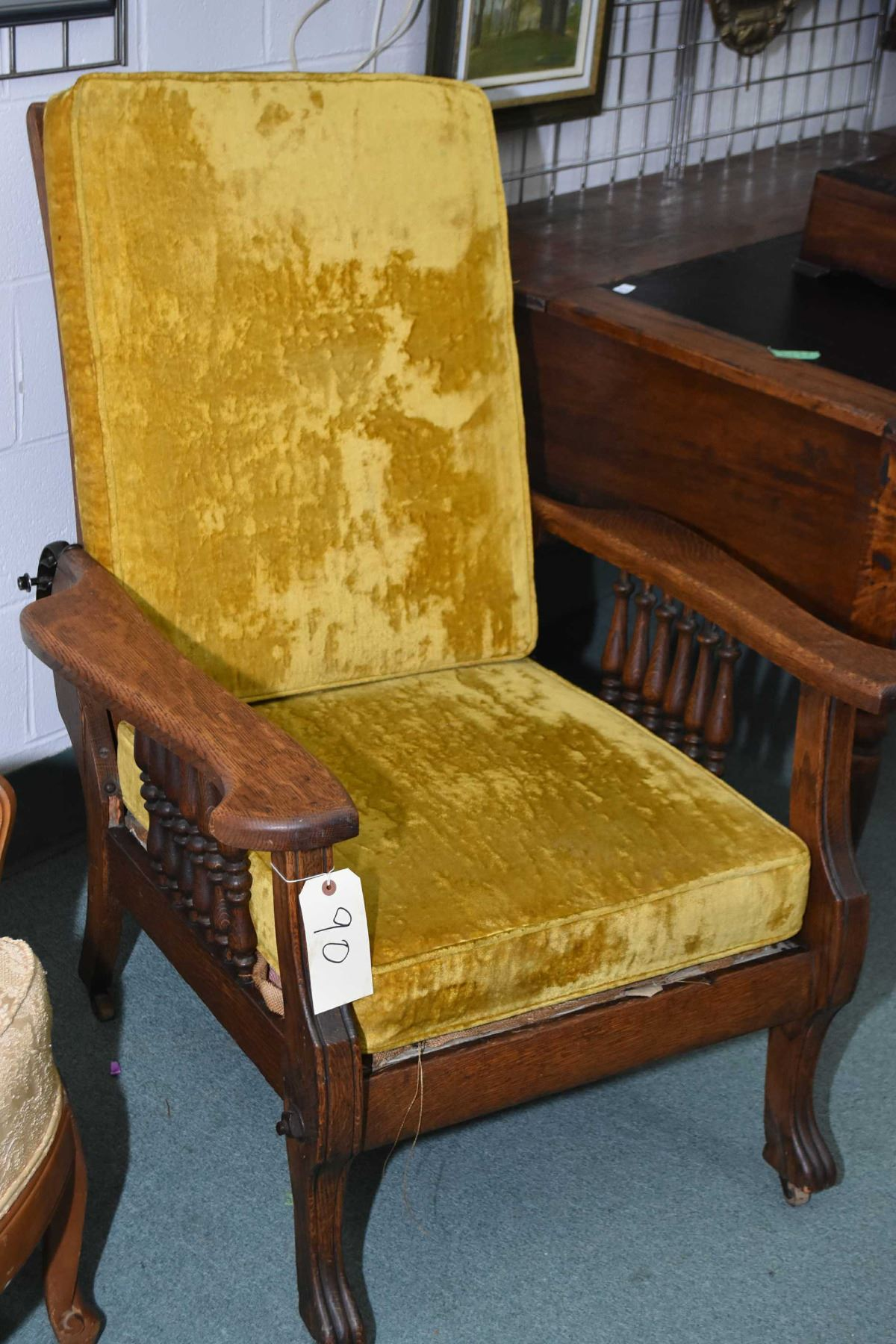 Image 1 : Antique Oak Morris Chair With Turned Spindles, Claw Feet And  Upholstered Cushions