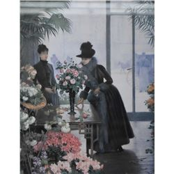 Two framed prints including lady in floral shop and a flower seller
