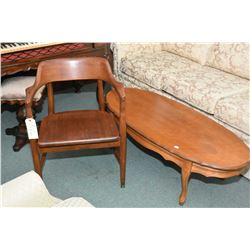 Unusual vintage open arm chair made by Krug and a French Provincal coffee table
