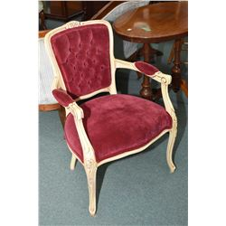 Button tufted open arm painted parlour chair
