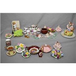 Two tray lots of porcelain collectibles including Lord Nelson chintz bud vase, Royal Cotswold's tea