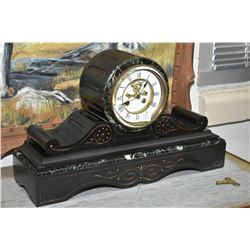 Antique slate mantle clock, missing pendulum and bell