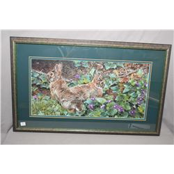 "Two framed limited edition prints including ""Violet Trails and Cottontails"" pen signed by artist Car"