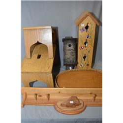 Selection of country collectibles including two pine stools, a coat rack, two bird houses and a wood