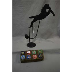 "Eight horse motif glass saddle buttons and a metal works horse motif rocking pendulum 18"" in height"