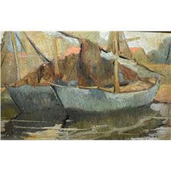 "Framed oil on board painting of boats at shore signed R. Pilot and marked on verso ""Fishing boats at"