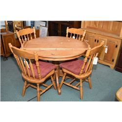 "Modern round oak 42"" table with insert leaf and center pedestal and four maple arrowback dining chai"