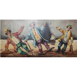 "Large framed acrylic on canvas painting ""Clowns"" and signed by artist Fiorelli, 24"" X 48"""