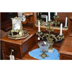 Selection of vintage brass including three branch candelabra, brass and crystal compote, a small bel