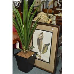 Two pieces of modern decor including and artificial potted plant and a framed botanical print