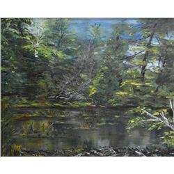 "Framed oil on board painting marked on verso ""Beaver Dam, Millbrook, Ontario, William Goodrich Rober"