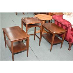 Pair of matching mahogany side table with undershelves and a mid 20th century telephone table