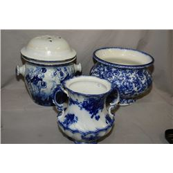 "Large blue and white glazed pottery jardinere marked Losol Ware Cavendish 10"" in height, an English"