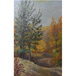 Framed oil on board painting of leaves changing in autumn signed by artist D. Christine Stoker 1929,