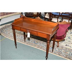 Antique mahogany framed dome topped bevelled mirror and a mahogany single drawer console table with