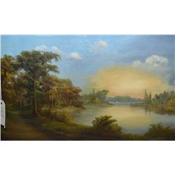 Antique gilt framed original oil on canvas painting of a secluded cove with walking trail and sunset