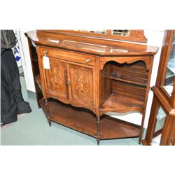 Antique rosewood sideboard with inlaid satin wood drawer and doors, multiple display shelves and tur