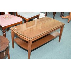 Vintage mahogany coffee table with undershelf and custom glass protector