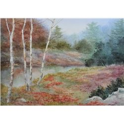 "Framed original watercolour painting of a riverbank in autumn, signed by artist Owen Wexler, 17"" X 2"