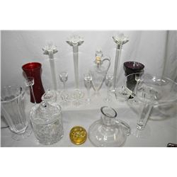 Two trays of glass and crystal collectibles including lidded pinwheel crystal ice bucket, decanters,