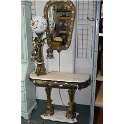 Highly decorative gilt metal and marble console table with underlighting, matching mirror plus a thr