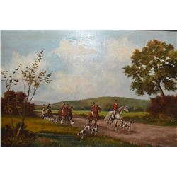 "Framed oil on canvas painting of a huntscene signed by artist P. Majon, 24"" X 36"""