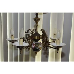 Capodimonte five branch porcelain and brass ceiling fixture and an antique brass thurible for incens