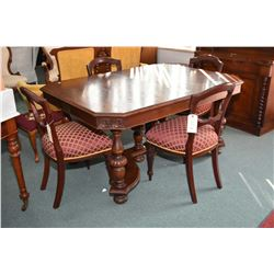 Walnut refractory style dining table with three insert leaves plus a set of four co-ordinating dinin