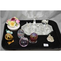 Selection of cabinet collectibles including Swarvoski crystal figures, art glass egg and apple, a Th