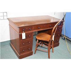 Antique mahogany double pedestal desk, appears to be original hardware and finish, each drawer indep