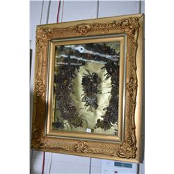Gilt framed shadow boxed Victorian family hair wreath with approximately 12 shades of different hair