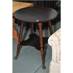 "Two tier occasional table, 26"" in diameter with twist supports and cast and glass ball and claw feet"