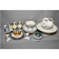 Selection of china collectibles including Staffordshire footed cake plate, Dresden pierced edge bowl