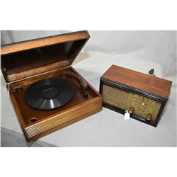 Vintage walnut cased audio equipment including Coronado tabletop radio (sold only my MacLeod's) and