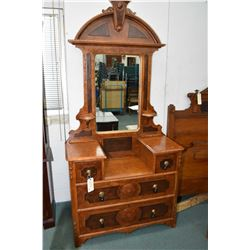 "Antique four drawer mirrored dresser with basin drop and candleholders plus an Eastlake 50"" headboar"