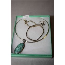 Selection of sterling silver jewellery including necklace with stone pendant, sterling bangles and a