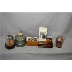 Selection of vintage collectible musical boxes including inlaid box, wedding cake topper etc.