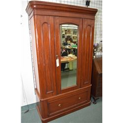 Victorian mahogany wardrobe with storage in base in mirrored door