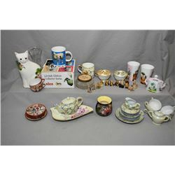 Selection of collectibles including child's lustreware tea set, Wade figurines, English made vase, h