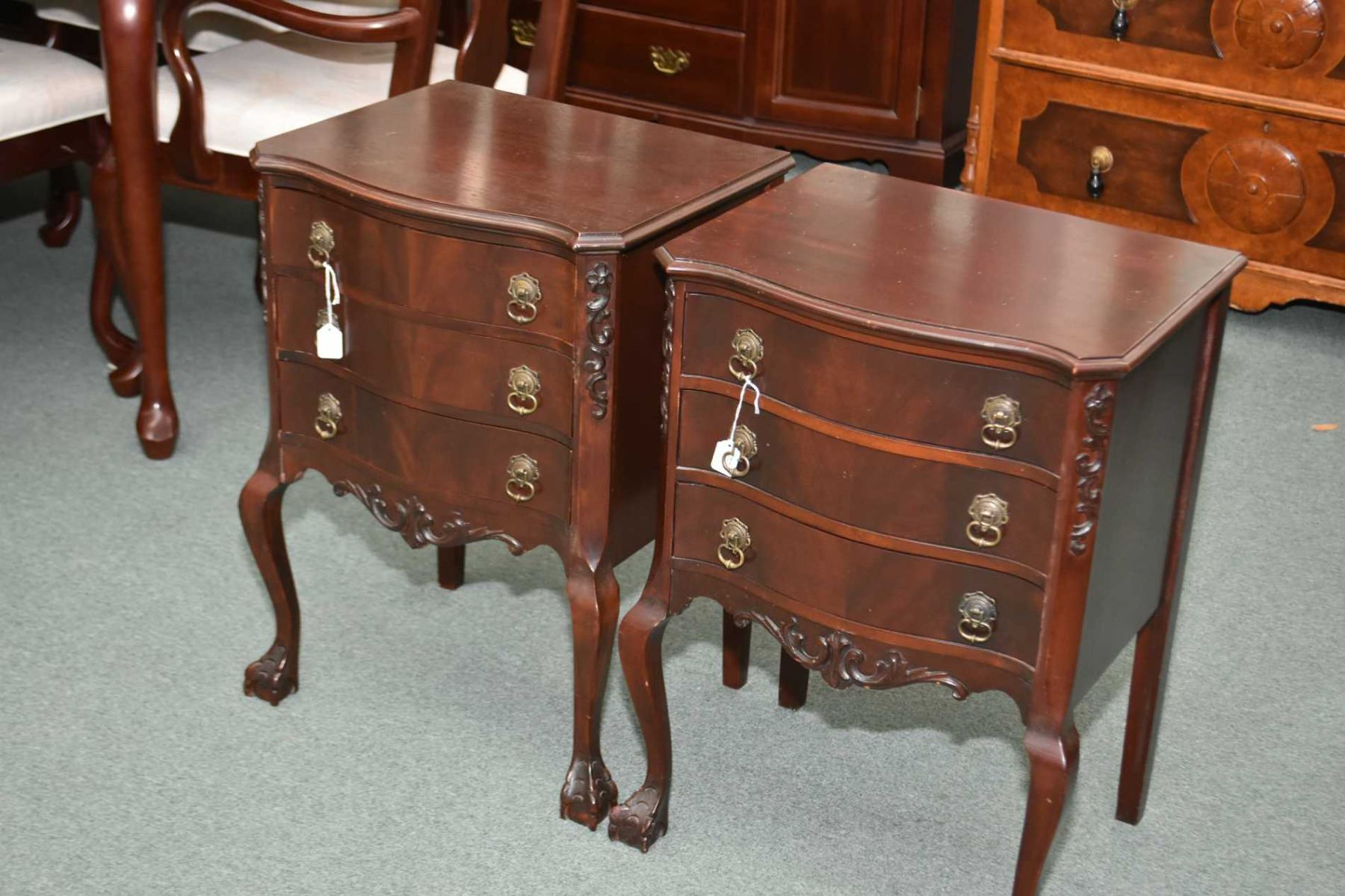 Image 1 : Pair Of Chippendale Style Three Drawer Mahogany Side Tables, Made  By Gibbard ...