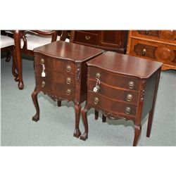 Pair of Chippendale style three drawer mahogany side tables, made by Gibbard